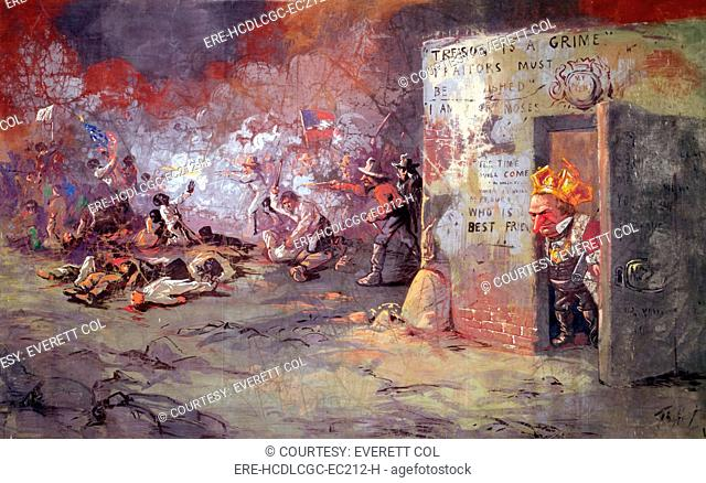 'The massacre at New Orleans', showing President Andrew Johnson at a race riot that occurred in New Orleans. Painting by Thomas Nast ca. 1867