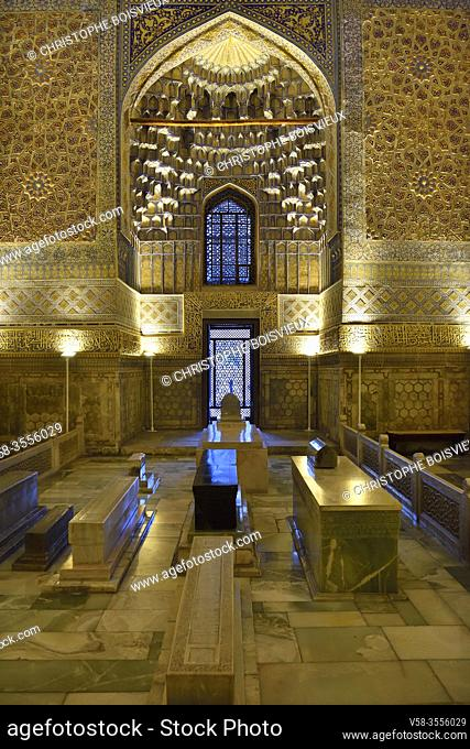 Uzbekistan, Unesco World Heritage Site, Samarkand, Gur-e-Amir mausoleum, Tamerlane's tomb