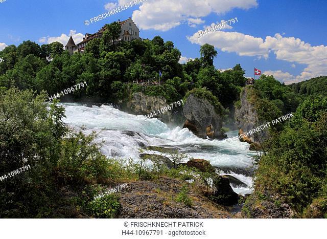 Rocks, Cliffs, river, flow, body of water, water, Eastern Switzerland, panorama, Rhine, Rhine Falls, Rhine Fall, Schaffhausen, castle, Laufen castle