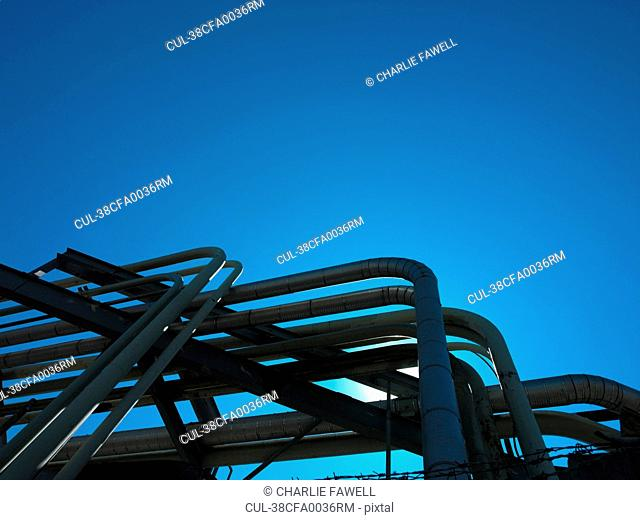 Pipeline system against blue sky