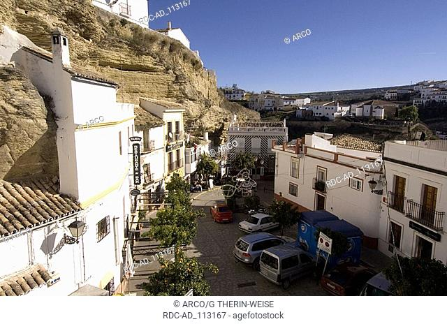 Cave dweller houses Troglodyte houses Setenil de las Bodegas white villages Pueblos Blancos Andalusia Spain