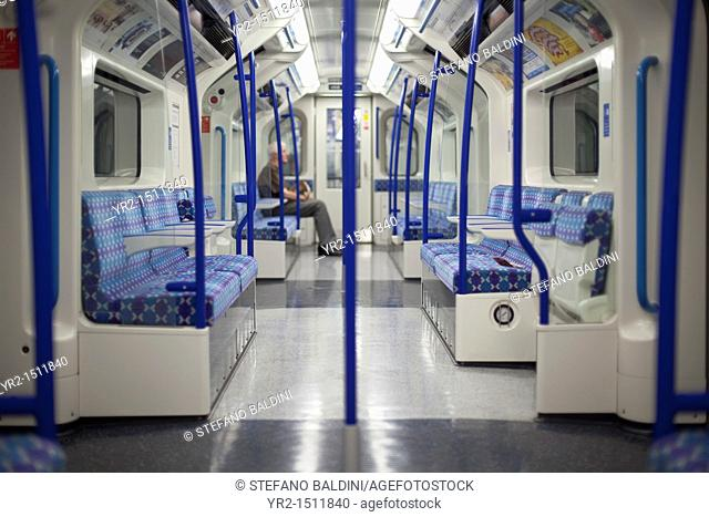 London underground train carriage with one passenger