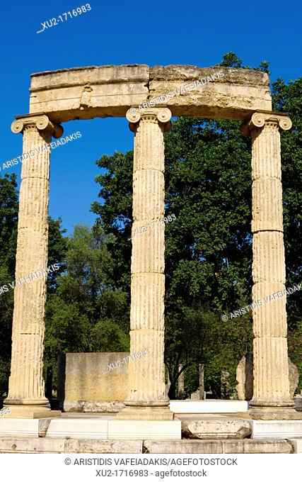 Ancient Olympia  The Philippeion, an elegant circular peripteral structure with 18 lonic columns  It was built in 338-336 BC in honour of Philip II