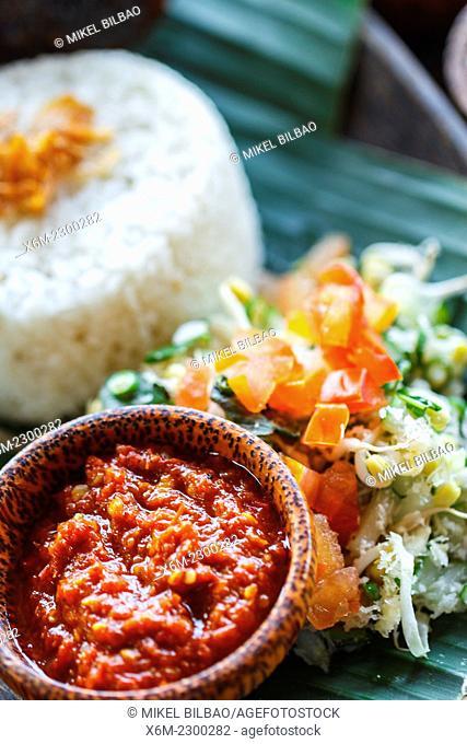 Indonesian rice traditional recipe. City of Yogyakarta, Java island, Indonesia, Asia