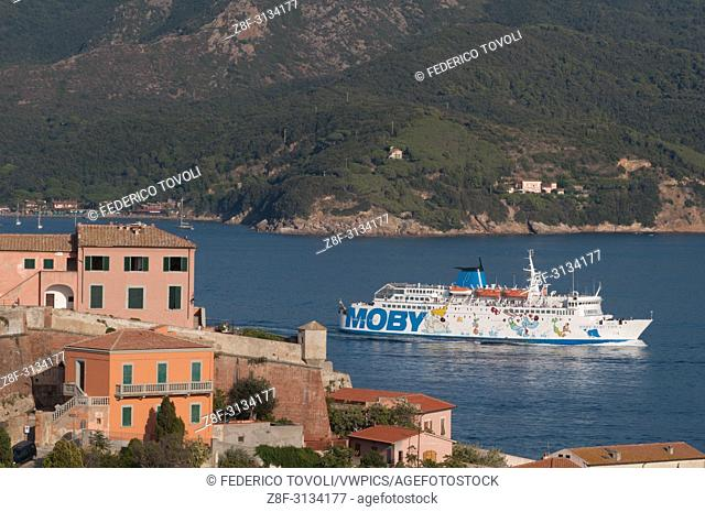 Portoferraio. Stella fort and local ferry from Moby company