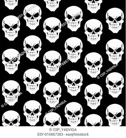Seamless pattern from black grinning skulls on black background