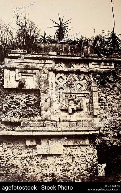 Uxmal, Indian Bas Relief, Nun's Palace (Uxmal, Bas Relief de l'Indien, Palais des Nonnes), 1860. Creator: Désiré Charnay