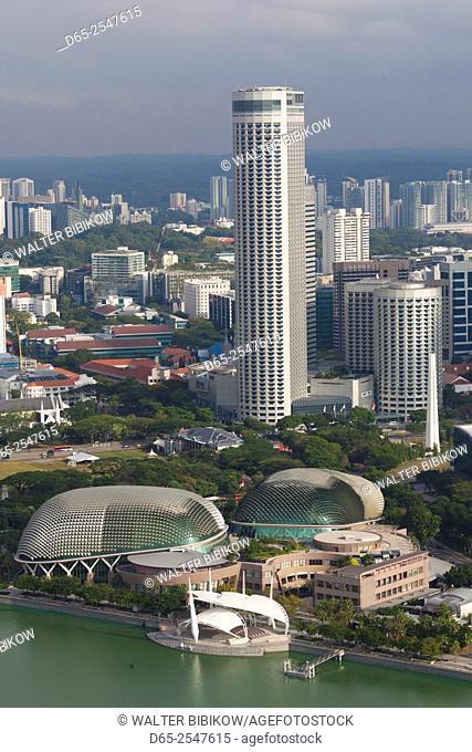 Singapore, elevated city skyline above Marina Reservoir, Swisshotel The Stamford and Esplanade Theaters