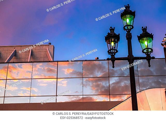 Contemporary architecture detail in Montjuic Barcelona Catalonia Spain