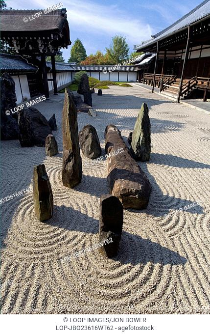 The Zen Garden at Tofuku ji Temple in Kyoto in Japan