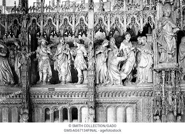 Detail of the choir screen at Chartres Cathedral, which features 41 sculptured groups representing scenes in the lives of the Madonna and of Christ
