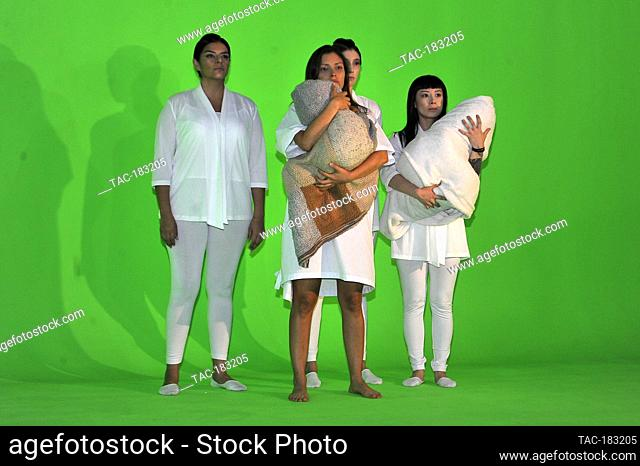 MEXICO CITY, MEXICO - OCTOBER 26: Actress, Vita Vargas, Carla Hernández, Sayaka Yokoyama, in a Scene from the filming of the film (Nudus) by director Gibran...