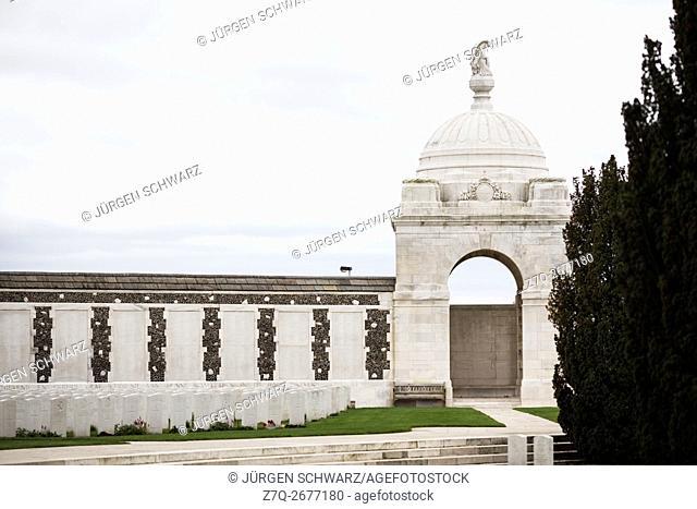 Gravestones at Tyne Cot Military Cemetery in Zonnebeke, Belgium