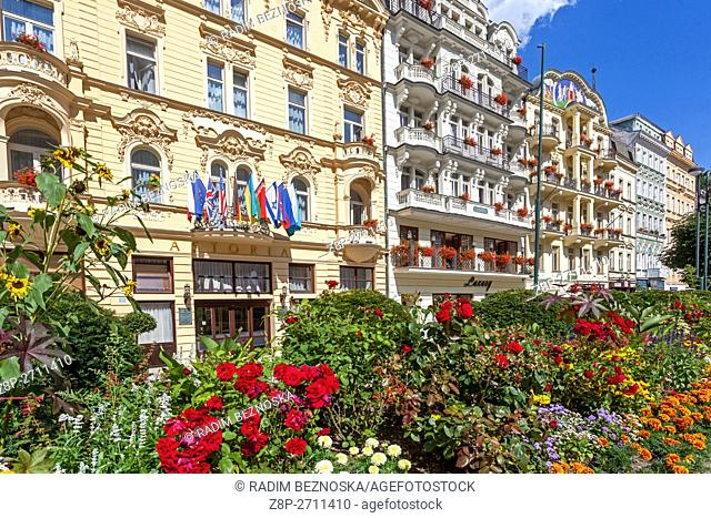The city center with buildings and hotels along the colonnade, Karlovy Vary (Carlsbad), spa town, West Bohemia, Czech Republic