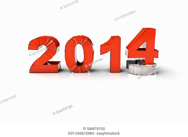 New Year 2014 and Old 2013,Render 3D. Over white background