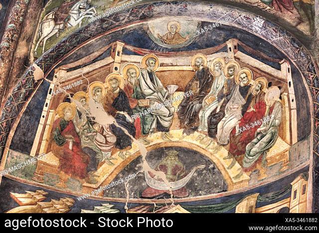 Interior Frescoes, Arbore Monastery, 1502, Painted Monasteries, UNESCO World Heritage Site, Arbore, Suceava County, Romania