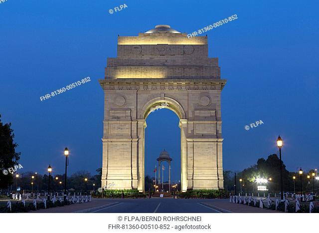View of war memorial illuminated at night, India Gate, New Delhi, Delhi, India, March