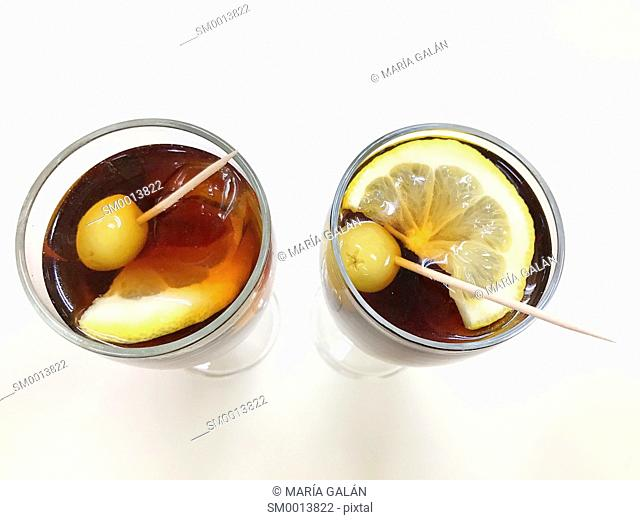 Two glasses of vermouth. View from above