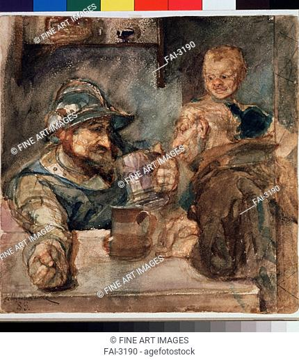Over a Beer Tankard. Vrubel, Mikhail Alexandrovich (1856-1910). Watercolour on paper. Symbolism. 1883. Russia. State Tretyakov Gallery, Moscow