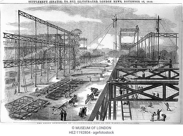 General view of the works for the Great Exhibition, 1851 in Hyde Park, London. The 'Great Exhibition of the Works of the Industry of all Nations' was conceived...