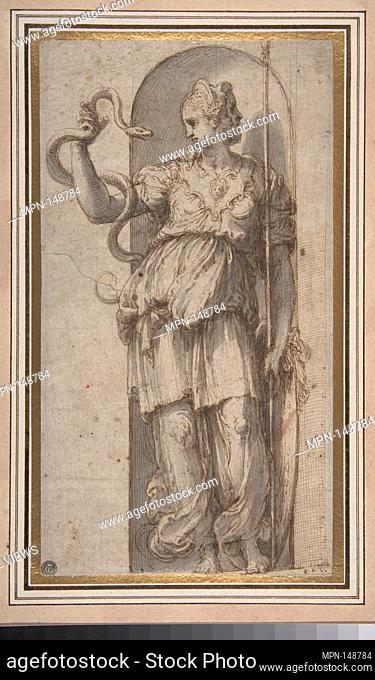 Study for Allegorical Figure of Prudence. Artist: Perino del Vaga (Pietro Buonaccorsi) (Italian, Florence 1501-1547 Rome); Date: 1501-47; Medium: Pen and brown...