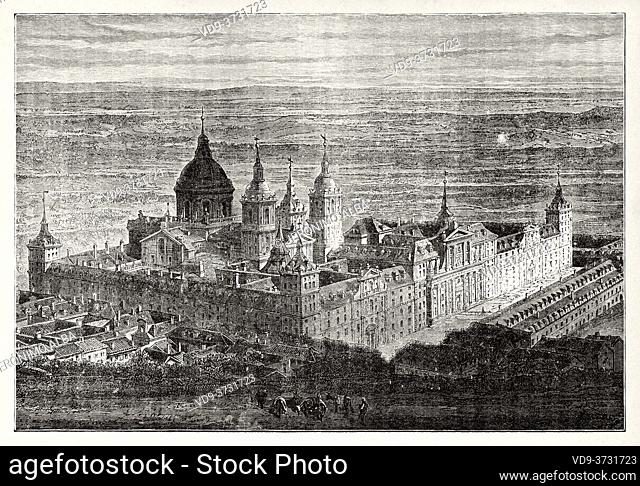 Panoramic view of the Royal Monastery of San Lorenzo de El Escorial, province of Madrid, Spain. Old XIX century engraving illustration