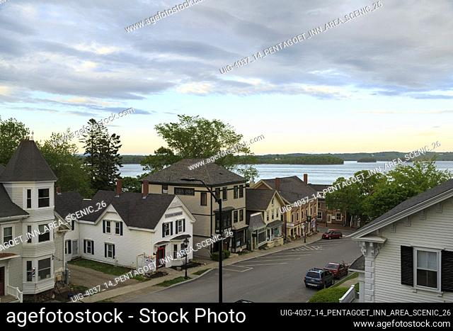 Aerial View of small New England town main street with view of ocean, Castine, Maine, USA