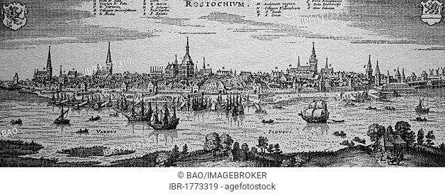 Rostock, Germany, in the 17th century, historical steel engraving