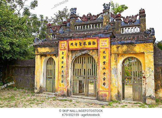 Gate to old Buddhist Temple near Hoi An, Vietnam