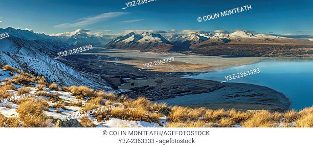 Tasman glacier river flats, Lake Pukaki, Glentanner high country farm, Aoraki / Mount Cook in distance, panorama from Ben Ohau Range, Mackenzie country