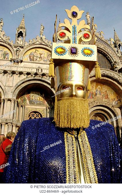 Venice (Italy), mask during Carnival, in front of San Marco's Basilica