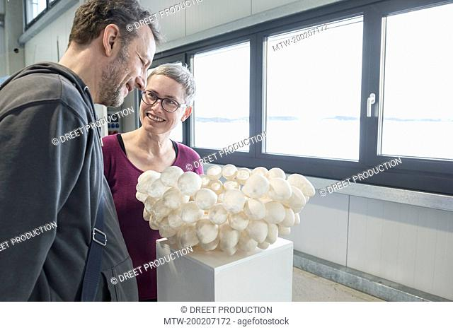 Couple looking at egg shell lampshade in an art museum, Bavaria, Germany