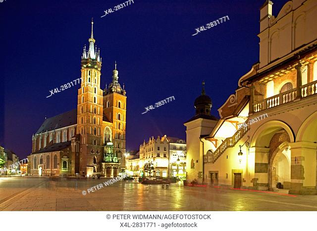 Saint Mary Basilica at the Main Square in Krakow by Night, Poland, Europe