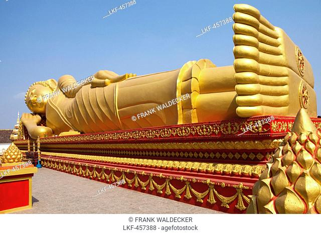 Golden Buddha at Pha That Luang Monument in Vientiane, capital of Laos, Asia