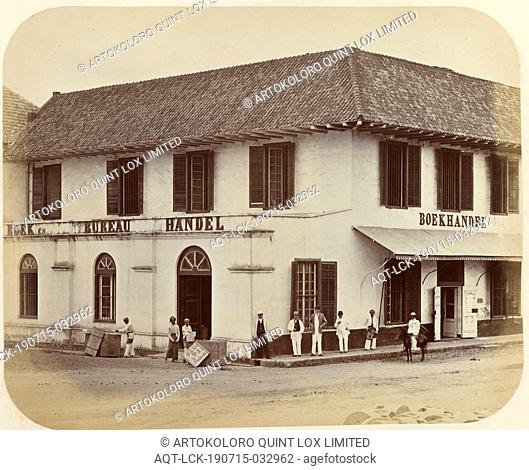 Bookstore Kolff & Co. in Batavia, View of the Kolff & Co at the intersection of the Kali Besar and Pasar Pinang in Batavia