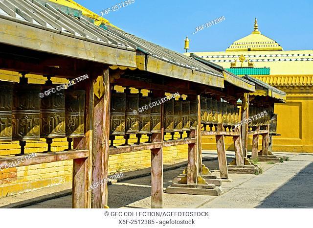 Prayer mills in the Buddhist Gandan Monastery, Ulaanbaatar, Mongolia