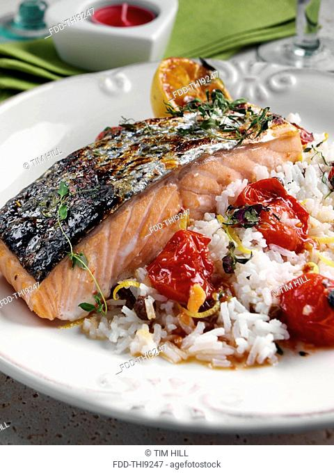 Roasted Salmon with cherry tomatoes and coconut rice