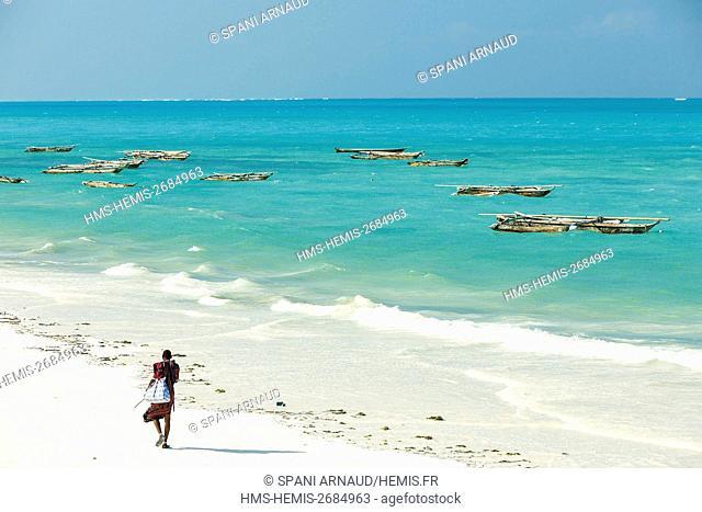 Tanzania, Zanzibar, Jambiani, Masai on the beach