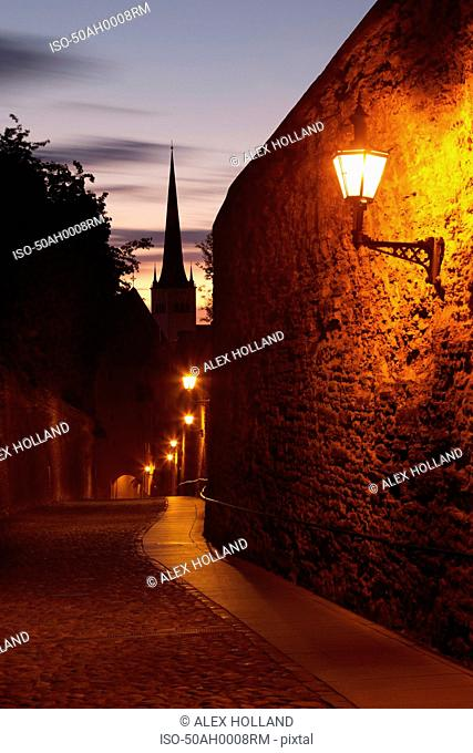Streetlights along medieval city wall