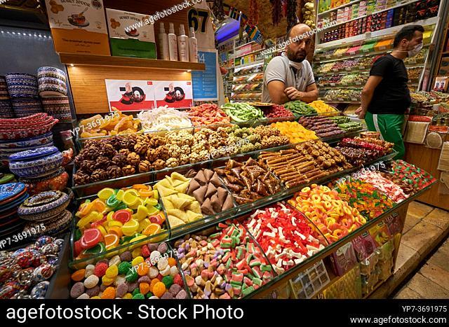 Turkish sweets stall in Egyptian market, Istanbul, Turkey