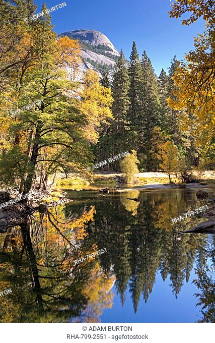 Autumnal foliage on the shores of the Merced River in Yosemite Valley, California, United States of America, North America