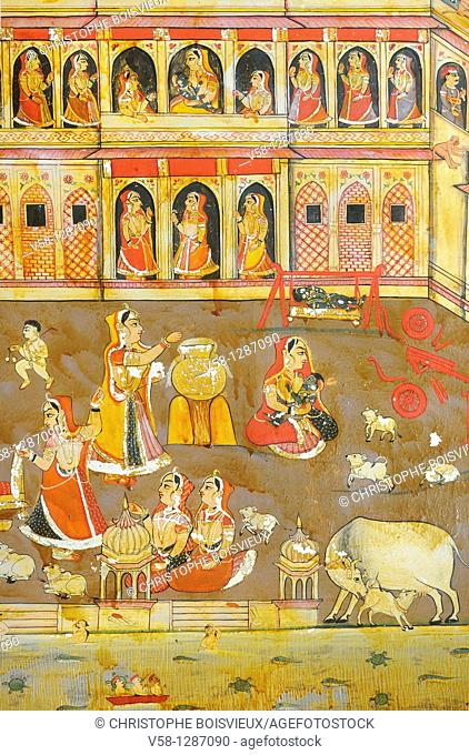 India, Rajasthan, Shekhawati, Mahansar, Sona Chand Ki Dukan Haveli circa 1850, Golden room, Miniature painting depicting scenes of the Ramayana