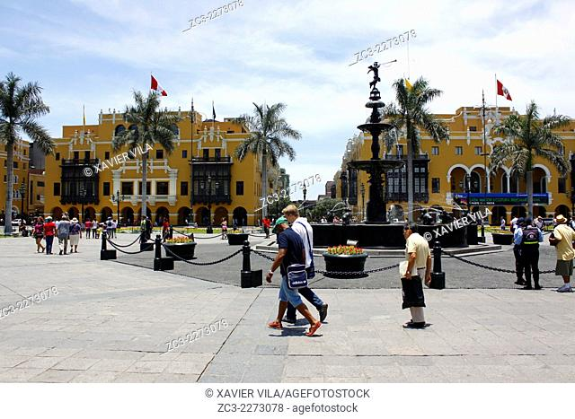 Plaza de Armas, Plaza Mayor, World Heritage, Lima, capital of Peru