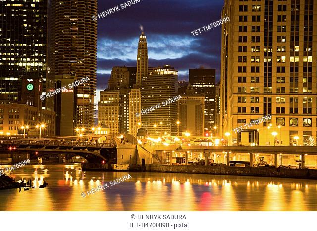 USA, Illinois, Chicago skyline illuminated at night