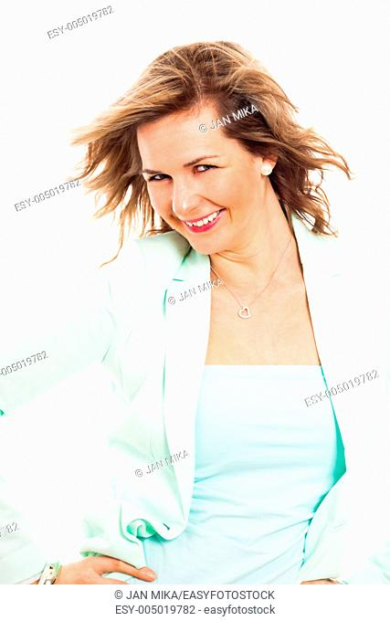 Portrait of young happy smiling woman, isolated on white background