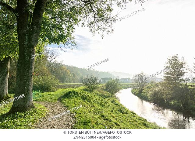 Trattnach River Passing Botanica Recreational Park in Bad Schallerbach. Austria