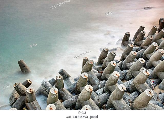 High angle view of concrete sea defence, Dazuo, Fujian, China