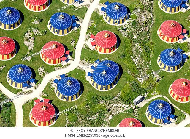 France, Vendee, Les Epesses, Le Puy du Fou historical theme park, The Field of the Cloth of Gold hotel (aerial view)