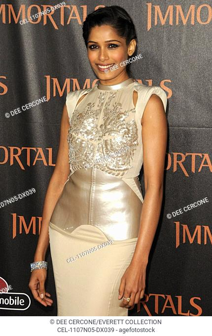 Freida Pinto at arrivals for IMMORTALS Premiere, Nokia Theatre at L.A. LIVE, Los Angeles, CA November 7, 2011. Photo By: Dee Cercone/Everett Collection