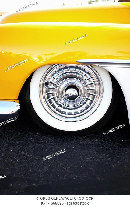 Close up of wheel on antique vehicle